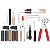 Leather Tool Kit Bundled with a Leather Hole Punch Set – Leather Working Tools – 32-PC Leather Stitching...