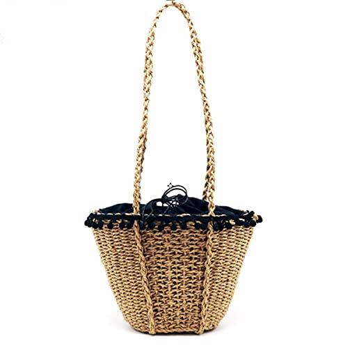 Bolso de playa bohemio de encaje con bolas de pelo para mujer, bolsos de paja hechos a mano retro, bolsos de viaje de verano, bolso con cordón, bolso de ocio 15X10X20CM