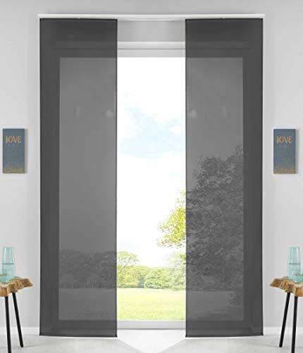 2er Set Schiebegardinen Flächenvorhänge Vorhang Gardine Schiebe HxB 245x60 cm Schwarz Komplett mit Paneelwagen Beschwerungsstange, 85589N2