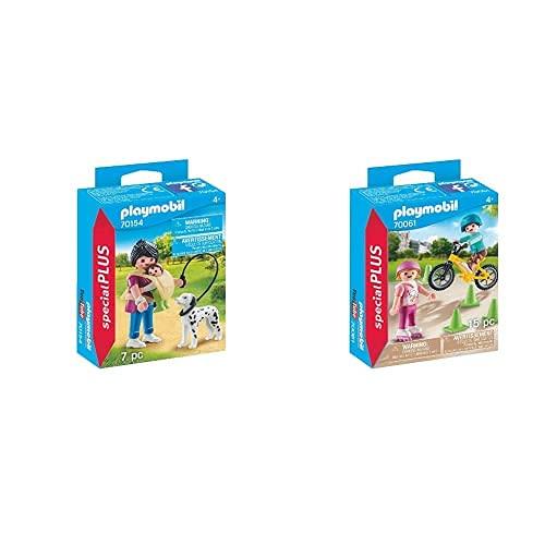 PLAYMOBIL 70154Special Plus Mamá con Bebé Y Perro, Multicolor + Special Plus Especial Niños Bici Y Patines, Color Carbón (70061)