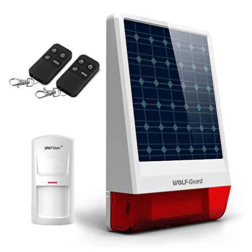 Wolf Guard - Sistema de alarma para el hogar (120 db, sirena solar inalámbrica)