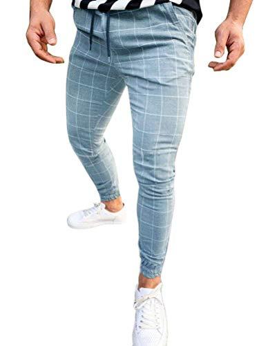 Tomwell Pantalón para Hombre Chino Casual Jogging Slim Fit Largos Deportivos Jogger Pants Impresión a Cuadros Trouser Primavera y Verano