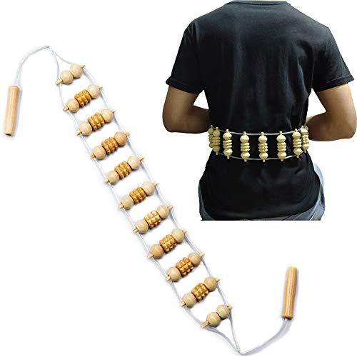 Massage Massagegerät Rücken Massageroller Manuelle Zugmassage Rückenmassagegerät mit Grif Roller aus Holz (Rollfläche 18.9 x 3 inches)