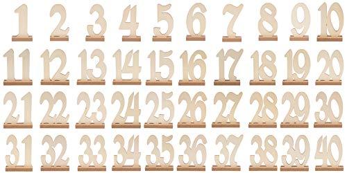 Juvale Houten Tafelnummer - Houten Tafelnummer met Houder Bases, Natuurlijke Plaats Kaarthouders Centerpieces voor Bruiloft, Feest, Catering Tafel, Baby Douche Decoraties