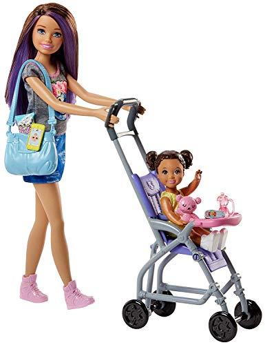 Barbie Babysitter Bebè e Passeggino Playset con Bambola Skipper e Accessori, Giocattolo per Bambini 3 + Anni, Multicolore, FJB00