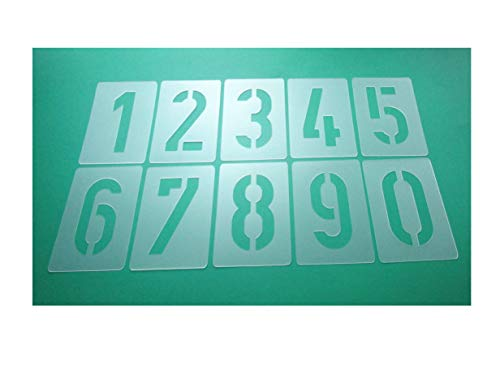 Zahlen-Schablonen-Set 003510, Zahlen 0-9 / 10cm hoch, 10 einzelne Schablonen