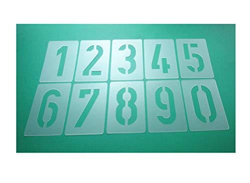 Zahlen-Schablonen-Set 003506, Zahlen 0-9 / 6cm hoch, 10 einzelne Schablonen