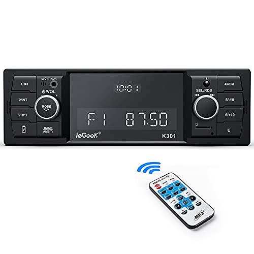 Radio Coche RDS/FM/Am, ieGeek 1DIN Autoradio Bluetooth 5.0 Estéreo, 4X60W Soporta Extra Bass/WAV/AUX//WMA/MP3/USB/SD/Control Remoto, Reloj de Visualización, Guardar 30 Emisoras de Radio