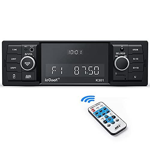 Radio Coche, ieGeek Autoradio Bluetooth RDS Estéreo 1DIN, 4X60W Soporta FM/Am/Extra Bass/WAV/AUX//WMA/MP3/USB/SD/Control Remoto, Reloj de Visualización, Guardar 30 Emisoras de Radio
