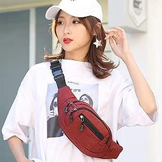 Fashion Single-Shoulder Bags Pure Color Multi-Function Pockets Waterproof Chest Bag Waist Sports Bag (Black) (Color : Red)