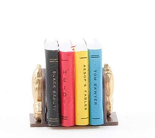 Dollhouse Miniature Chrysnbon Bookends with Books