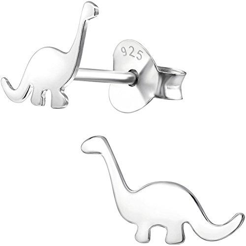 JAYARE pendientes para niña dinosaurio 7 x 9 mm puro plata de ley 925 plateado con la caja niños