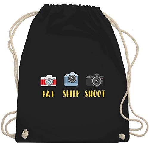 Fotografen - Eat Sleep Shoot - Unisize - Schwarz - eat sleep gym - WM110 - Turnbeutel und Stoffbeutel aus Baumwolle