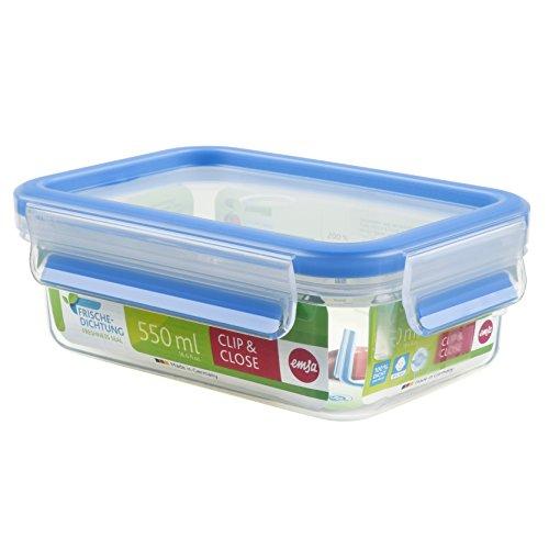 Emsa 508538 Rechteckige Frischhaltedose mit Deckel, 0.55 Liter, Transparent/Blau, Clip & Close
