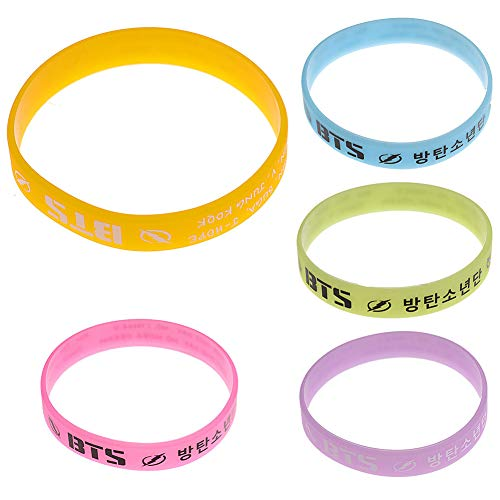 BTS Armband, Silikon Armband Suga Jin Jimin Jung Kook Rap Monster V Armband Gym Freizeit & Fitness Armband Geschenk für Army (Kit 1)