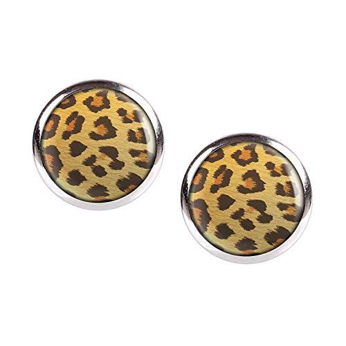Mylery Ohrstecker Paar mit Motiv Leo Leopard Leoparden-Muster silber 12mm
