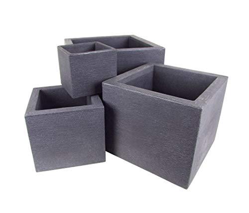 Kubus - Set di 4 vasi per piante in plastica, 4 pezzi, XXL, forma quadrata, scala a spirale