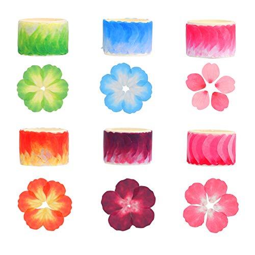 BELIOF6 Rolle Papier Blütenblatt Sticker Washi Tape Flower Aufkleber Sakura Washi Klebeband Blütenblätter Papierbänder Dekoband mit Blumenblütenblättern für DIY Scrapbooking Geschenkverpackung