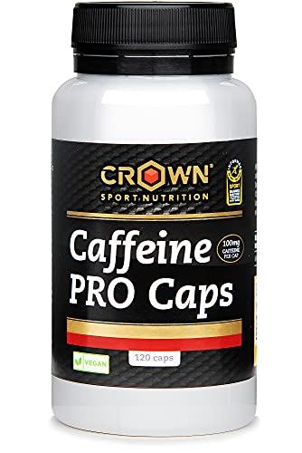 Crown Sport Nutrition Cafeína Cápsulas - 120 cápsulas Pura Cafeína anhidra Con 100 mg de Cafeína por cápsula con certificación antidoping Informed Sport y sin alérgenos y vegana
