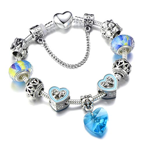 Delicate girl-shouzhuo Love Heart Bow-Knot Bracelet Bangle Beads Colorful Bracelet Fit para Mujeres DIY Making Jewelry Gift