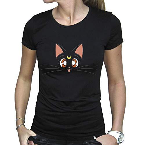 Sailor Moon ABY Frauenshirt Girlie T-Shirt: Luna (Schwarz) XL