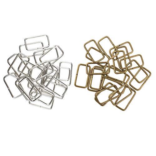 Harilla 40 Piezas de Hebilla Cuadrada de Metal, Bolso de Hombro, Conector, Correas, Bolso Artesanal de Bricolaje