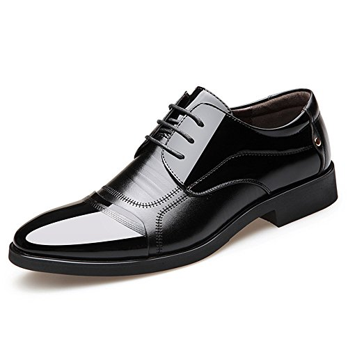 Blivener Men's Pointed Toe Zip Dress Shoes Casual Oxford 05Black EU43