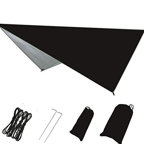 Alician Outdoor tragbare Hängematte zum Aufhängen, multifunktional, faltbar, UV-beständig, wasserdicht, Schwarz , 230 * 140cm (diagonal 270 * 270cm)