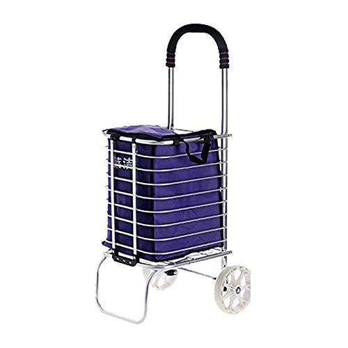 TQJ Storage Baskets for Bedroom Trolley Creative Light- Silent Shopping Cart Aluminum Frame Stylish Multi-function Portable Small Trailer For Supermarket Market Shopping Storage Baskets Large