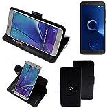K-S-Trade® Handy Hülle Für Alcatel 1C Dual SIM Flipcase Smartphone Cover Handy Schutz Bookstyle Schwarz (1x)