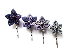 handmade fabric jewelry - hair pins