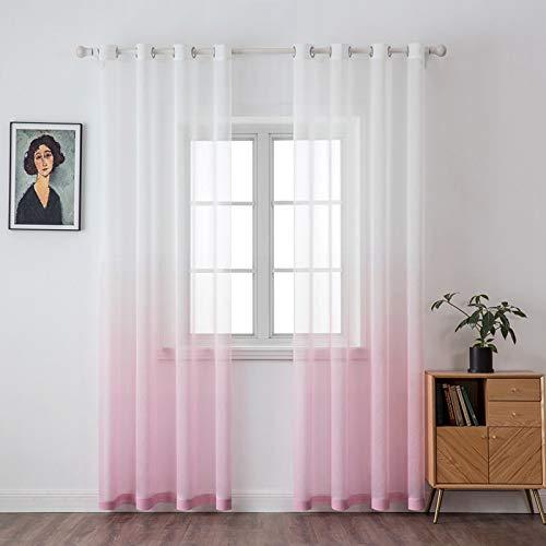 MIULEE Sheer Vorhang Voile Farbverlauf Dekoschal Gardinen mit Ösen transparent Gardine 2 Stücke Ösenvorhang Gaze paarig Fensterschal für Wohnzimmer 225 cm x 140 cm(H x B) 2er-Set Rosa