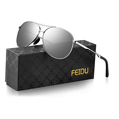 Sonnenbrille Herren Polarisierte Sonnenbrille Damen - Metallrahmen Polarisiert sonnenBrille Herren Fahren Unisex UV400 FD9002 (Silber, 2.28)