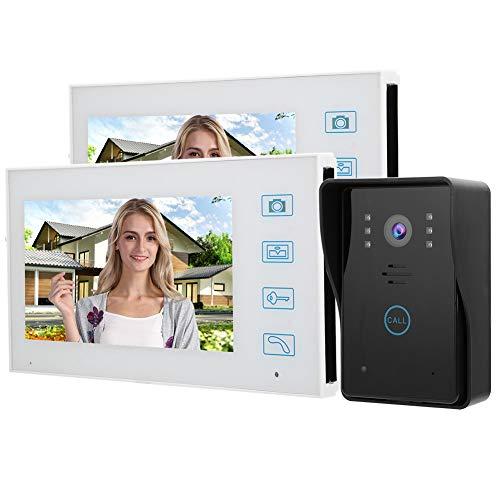 Videoportero, Sistema de Timbre de Video Inalámbrico, 7in TFT Video Intercom 2.4G Timbre de Puerta de Teléfono Inalámbrico con Visión Nocturna por Infrarrojos, Impermeable(EU)