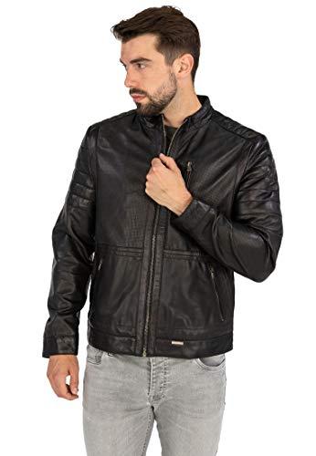 COCO BLACK LABEL since1986 Herren Lederjacke Jarvis im Biker-Look mit Stehkragen und Perforation, Farbe:Schwarz, Größe:52