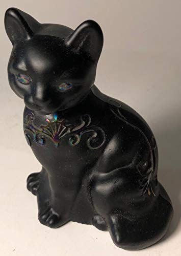 Fenton Art Glass Sitting Cat - Sand Carved - Rosso Exclusive USA (Scroll)