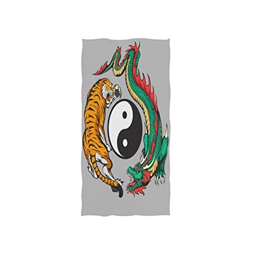 ALARGE Toalla de cara de animal chino dragón tigre yin yang toalla de mano absorbente durable suave toallas para el hogar cocina baño playa deporte piscina gimnasio spa