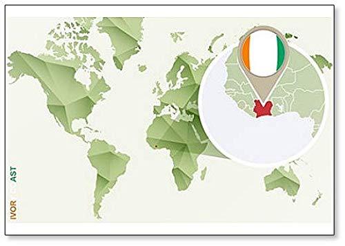 Kühlschrankmagnet, Motiv Weltkarte mit Elfenbeinküste & Flagge, klassisch