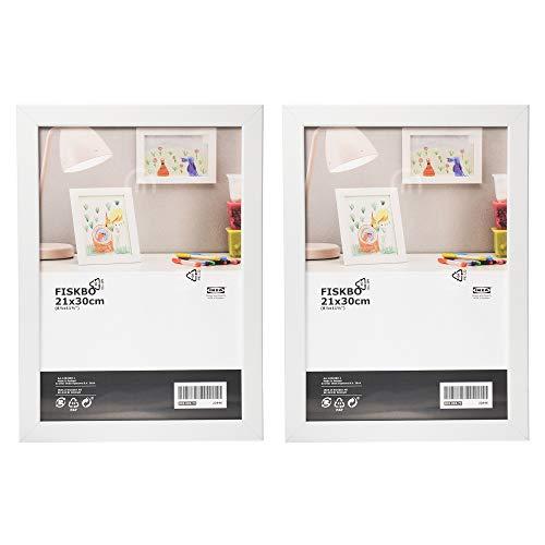 Ikea FISKBO - Marco de fotos (A4, 21 x 30 cm, 2 unidades), color blanco