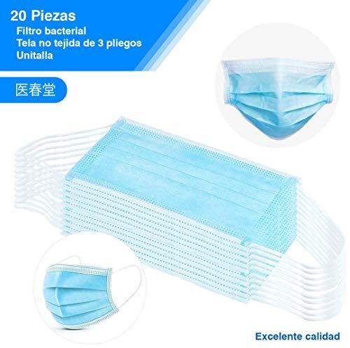 YOISU Cubrebocas 3 Capas Desechable,Triple Plisado,Embalaje en vacío,Color Azul,Eficiencia de…