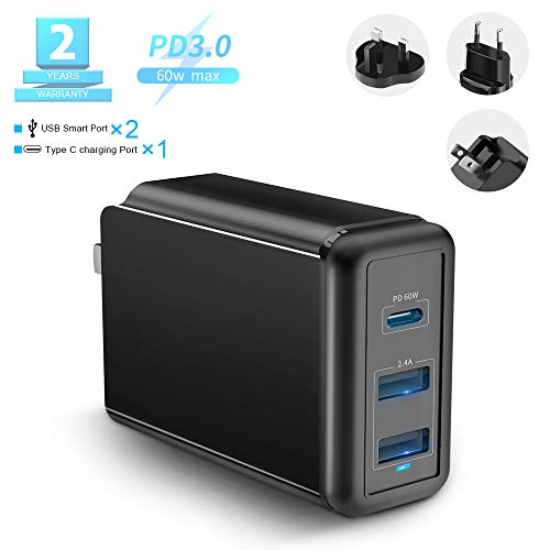 USB C Charger, Rocketek 60W 3-Port Power Delivery Charger with Type C PD Charger for Mac Book Pro/Air,iPad Pro,Dell,Lenovo, Phone11/Pro/Max/XR/XS/X,Galaxy,Pixel and More