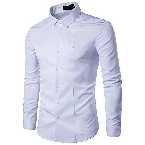 Gdtime Homme Chemise sans Repassage à Manches Longues Infroissable Respirant Slim Fit (Blanc, XL(EU))