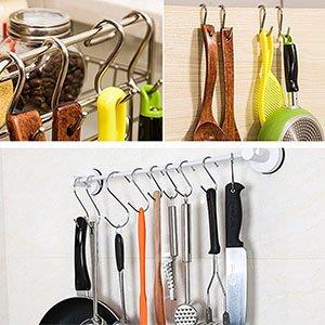 D-buy 10 Pack Heavy Duty S Hooks Black S Shaped Hooks Hanging Hangers Hooks for Kitchen, Bathroom, Bedroom and Office: Pan, Pot, Coat, Bag, Plants(10 Pack/S Hook/Black/2.4 inch)