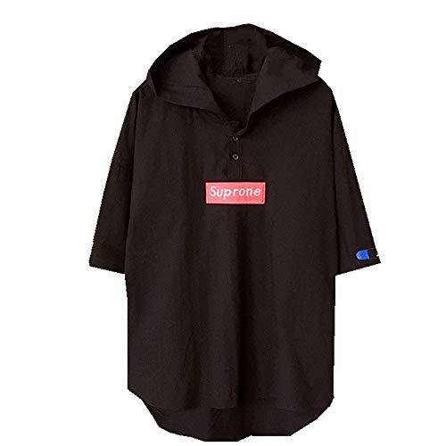 Camiseta de algodón de cáñamo para hombre con capucha, de verano, de manga corta Negro Negro ( 4XL