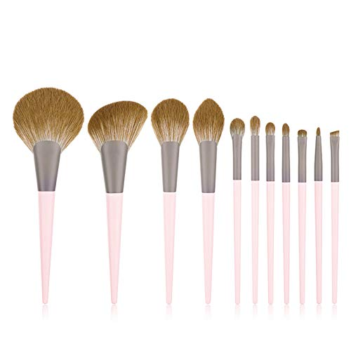 Quality makeup brush 11-piece Makeup Brush Set Brush Loose Powder Brush Eye Shadow Brush Professional Makeup Tool Pink Wooden Handle Biodegradable Environmental Protection Soft Hair Send Makeup Brush