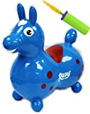 Gymnic Rody Horse Inflatable Bounce & Ride, Matty's Toy Stop Exclusive Blue & Red (7024) with Pump