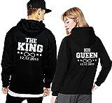 Friend Shirts King Queen Pärchen Partner Hoodie Pullover Wunsch Datum Couple Geschenk - Schwarz L