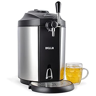 DELLA | Mini Beer Kegerator | Stainless Steel | Portable System | Micro Foam Technology | Cold Draft Tap | Pint | Glass