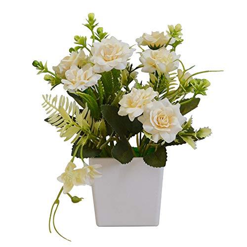 Olymajy Künstliche Blumen in Töpfen Künstliche Blumen und Plastikblumentöpfe Künstliche BlumenTopfrosen Wird für Hochzeiten, Büros, Tische, Fenster, Wohnzimmer, Schlafzimmer, Partys verwendet