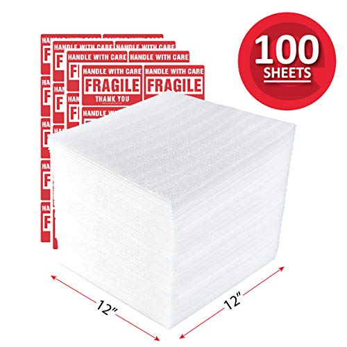 enKo 12 x 12 Inch (100-Pack) Foam Wrap Sheets for Moving Shipping Packing Supplies - 40 Fragile Stickers Labels